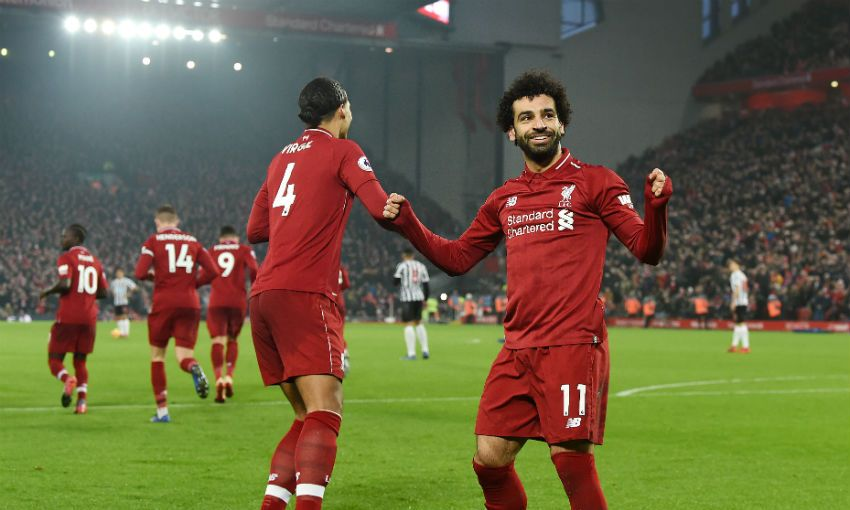 Mohamed Salah of Liverpool FC celebrates scoring versus Newcastle United