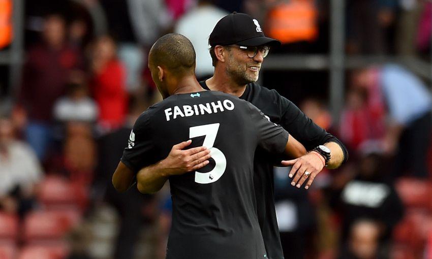 Fabinho and Jürgen Klopp