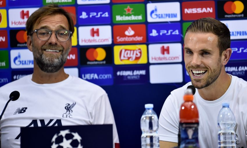 Jürgen Klopp and Jordan Henderson at a Champions League press conference