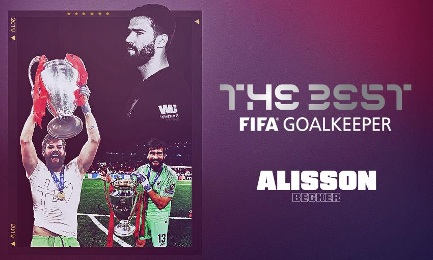 Kết quả hình ảnh cho Alisson won the FIFA best goalkeeper of the year