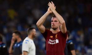Jordan Henderson applauds the fans after Napoli v Liverpool