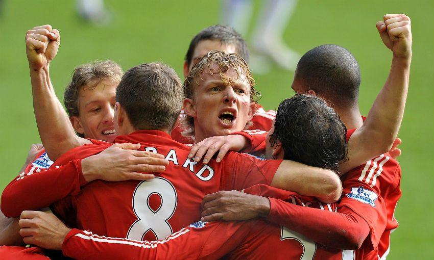 Dirk Kuyt celebrates goal for Liverpool FC