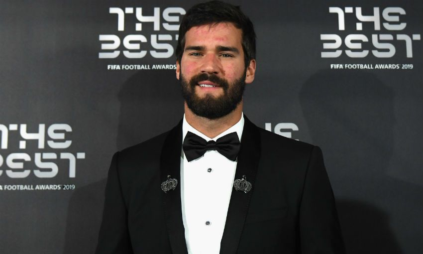 Alisson Becker of Liverpool FC and Brazil at FIFA The Best awards