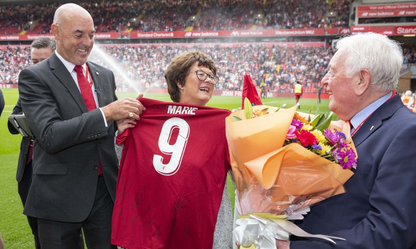 Marie Rooney honoured at Anfield