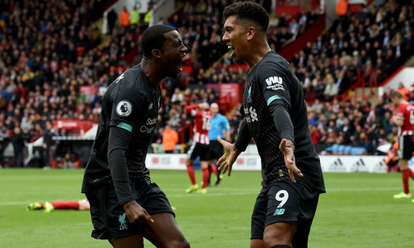 Gini Wijnaldum celebrates goal v Sheffield United