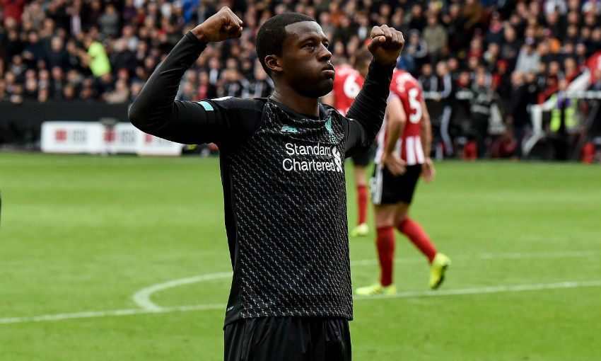 Wijnaldum goal celebration Sheffield United