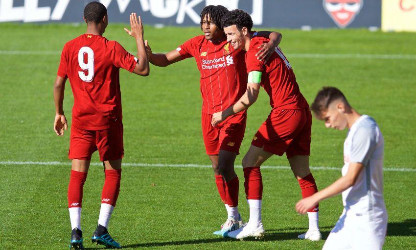 Yasser Larouci goal celebration Liverpool U19s Salzburg