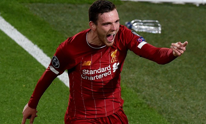 Andy Robertson celebrates goal in Liverpool 4-3 Salzburg