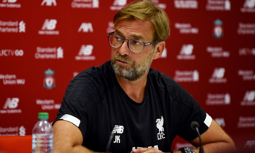 Jürgen Klopp holds a press conference at Melwood