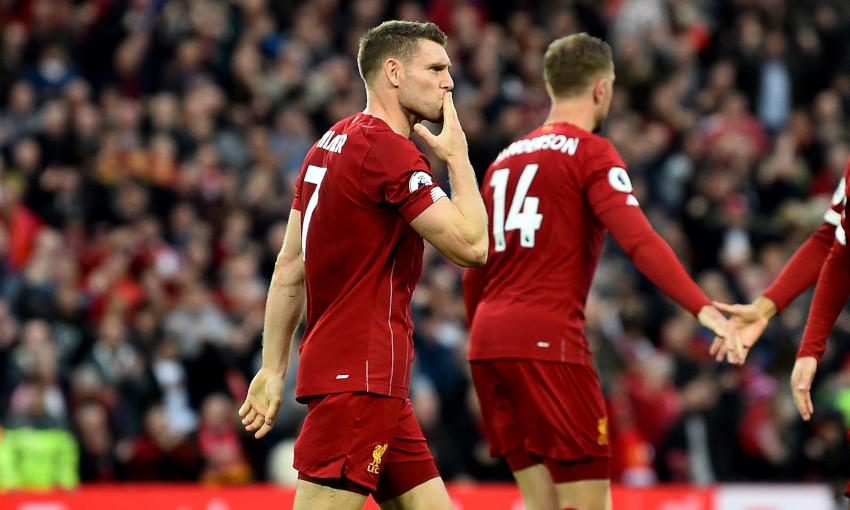 James Milner celebrates winner against Leicester