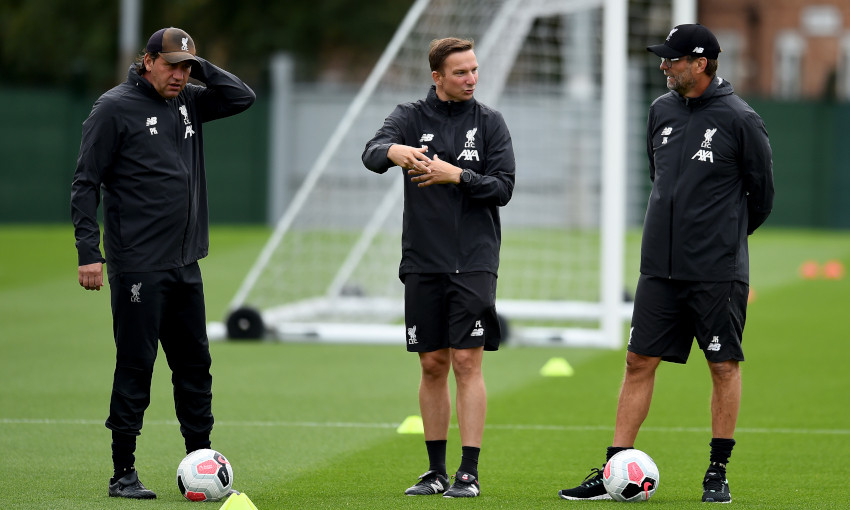 Peter Krawietz at Melwood with Pepijn Lijnders and Jürgen Klopp