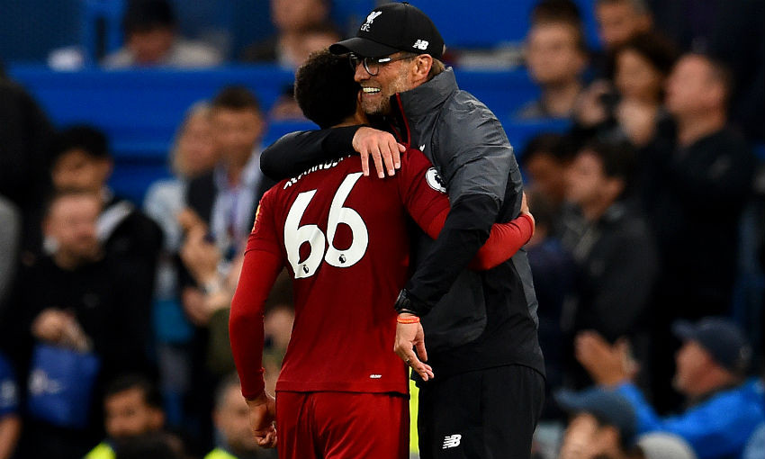 Jürgen Klopp and Trent Alexander-Arnold of Liverpool FC