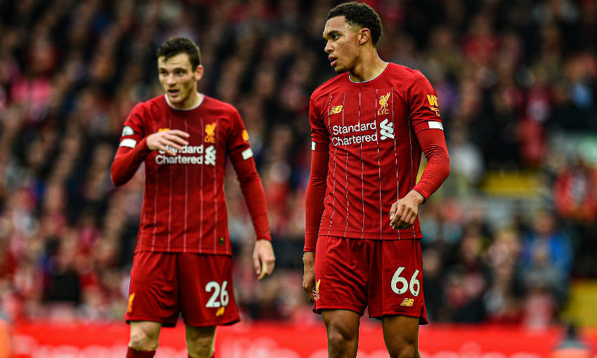 Trent Alexander-Arnold and Andy Robertson of Liverpool FC