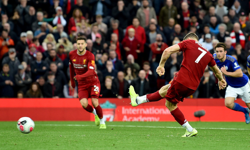 James Milner scores a penalty against Leicester City