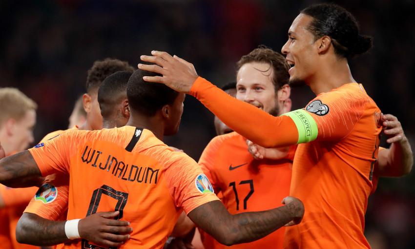 Georginio Wijnaldum celebrates scoring for Netherlands