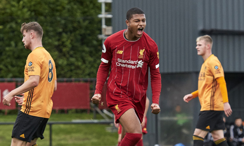 Rhian Brewster celebrates scoring for Liverpool U23s