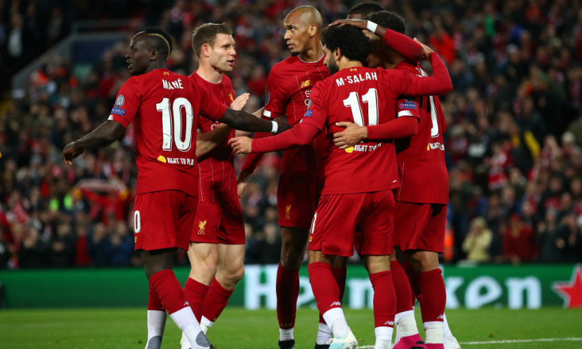 Liverpool goal celebration against Salzburg