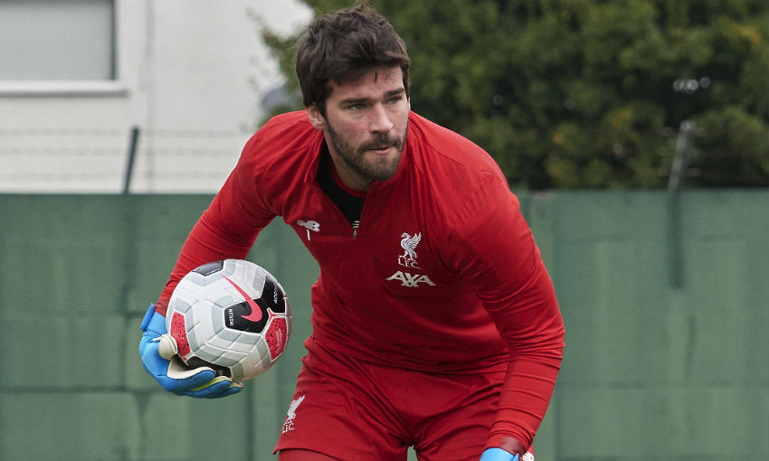Alisson Becker of Liverpool FC training at Melwood