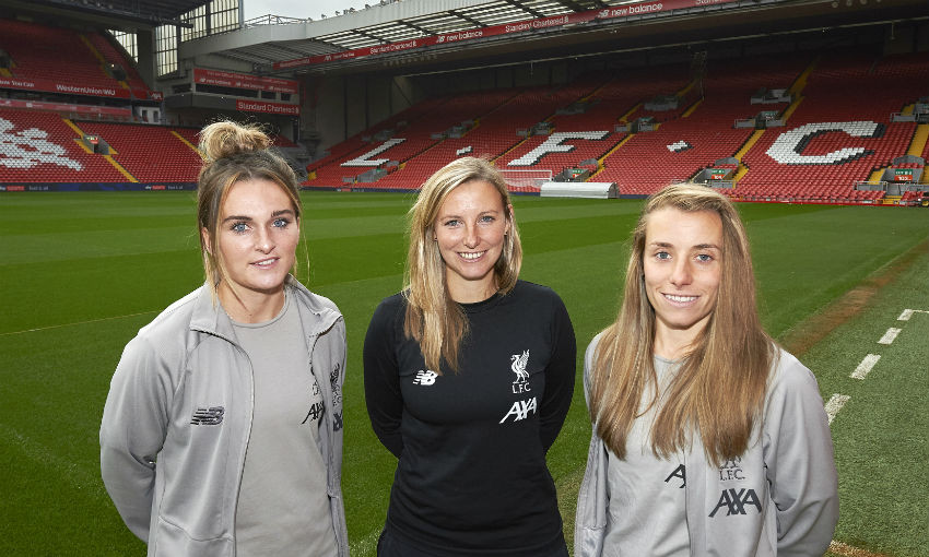 Vicky Jepson, Becky Jane and Melissa Lawley of Liverpool FC Women at Anfield