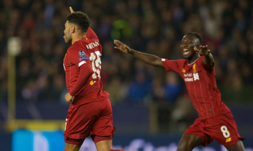 Alex Oxlade-Chamberlain celebrates scoring against Genk