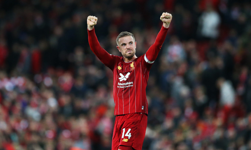 Jordan Henderson celebrates victory against Tottenham