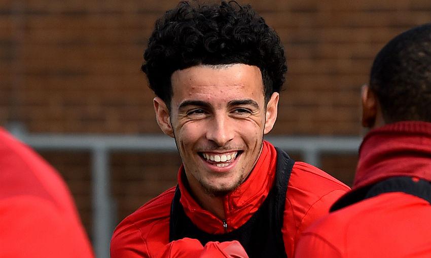 Curtis Jones of Liverpool training at Melwood