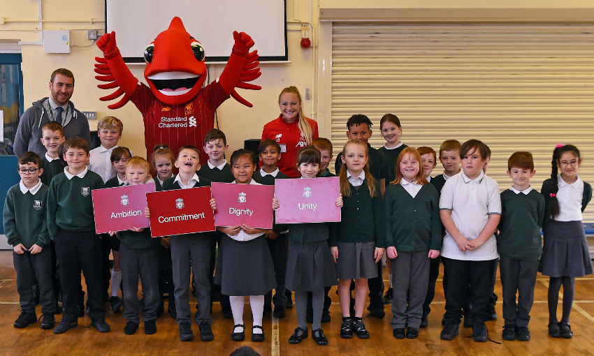 Liverpool FC Women and Mighty Red, Wirral school visit