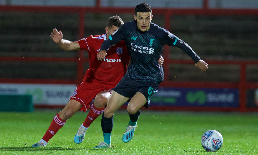 Liverpool's Issac Christie-Davies during the English Football League Trophy Northern Group B match between Accrington Stanley and Liverpool FC at the Crown Ground.