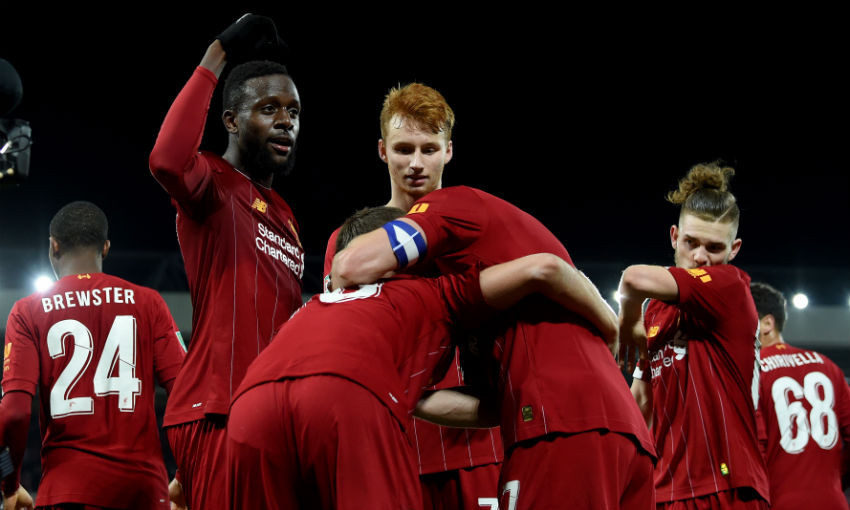 Divock Origi of Liverpool celebrating after scoring during the Carabao Cup Round of 16 match between Liverpool FC and Arsenal FC at Anfield on October 30, 2019 in Liverpool, England.