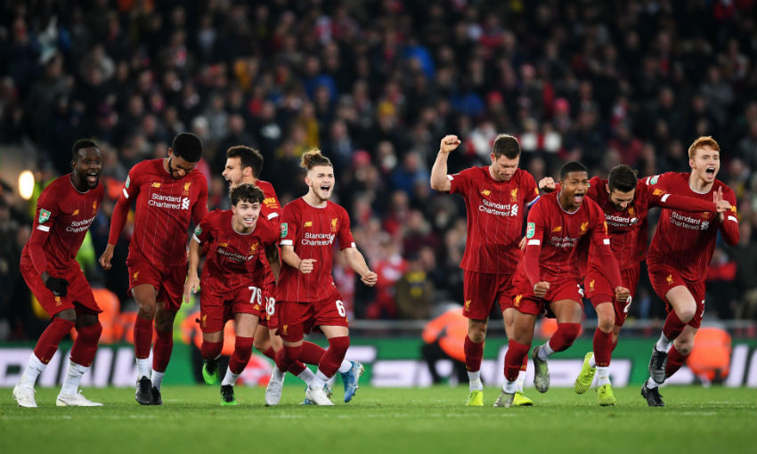 Liverpool celebrate Carabao Cup win over Arsenal