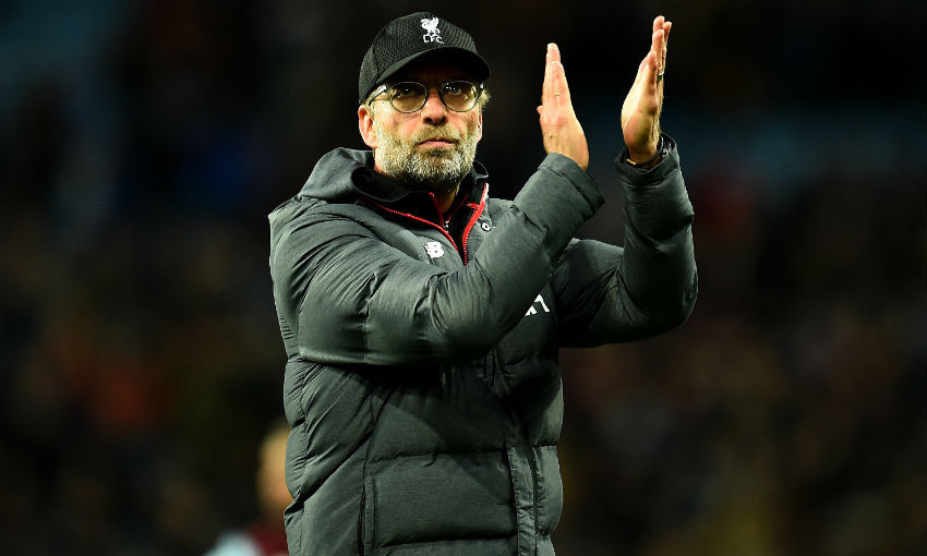 Jurgen Klopp manager of Liverpool showing his appreciation to the fans at the end of the Premier League match between Aston Villa and Liverpool FC at Villa Park on November 02, 2019 in Birmingham, United Kingdom.
