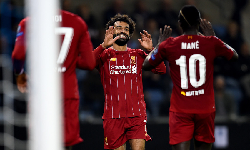 Mohamed Salah celebrates with Sadio Mane