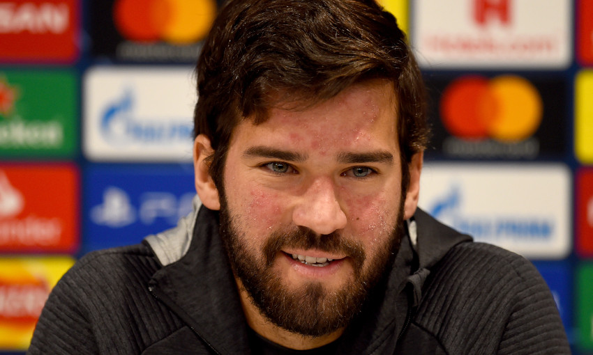 Alisson Becker at a Champions League press conference
