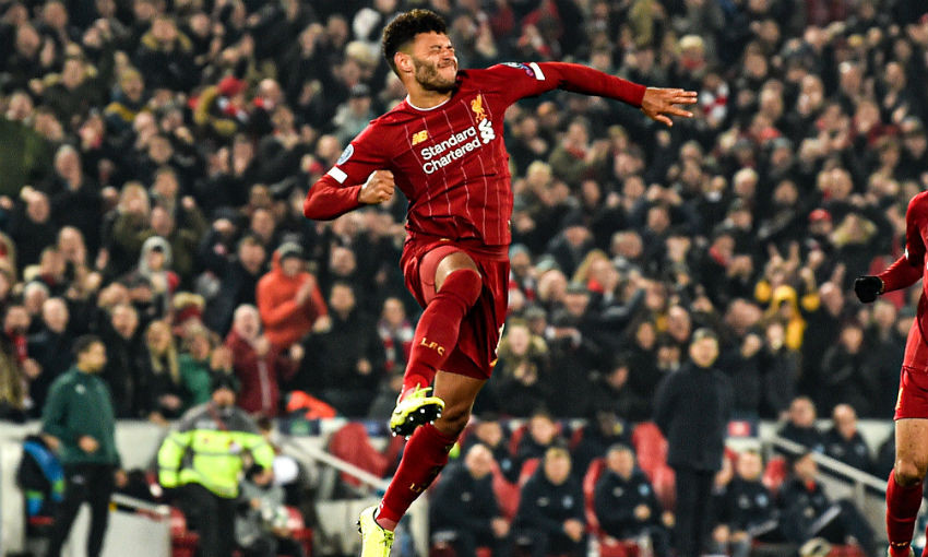 Alex Oxlade-Chamberlain of Liverpool celebrating after scoring a goal during the UEFA Champions League group E match between Liverpool FC and KRC Genk at Anfield on November 05, 2019 in Liverpool, United Kingdom.