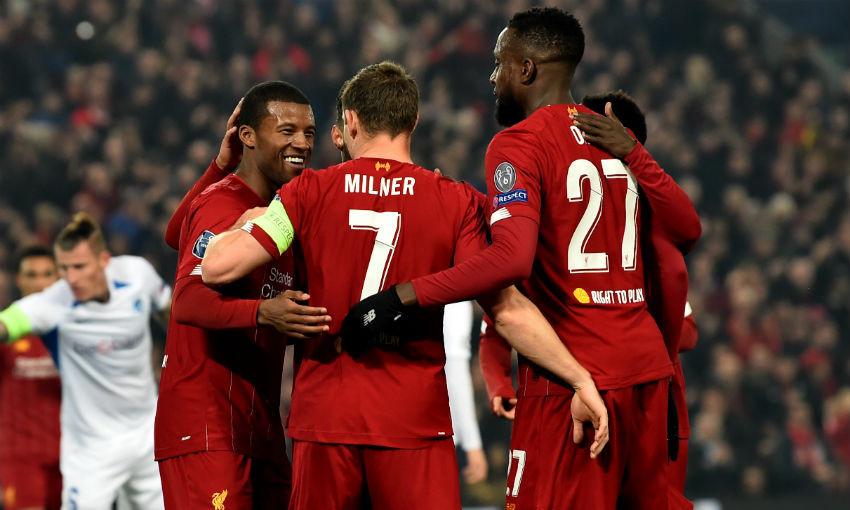 Georginio Wijnaldum of Liverpool scores the opener and celebrates during the UEFA Champions League group E match between Liverpool FC and KRC Genk at Anfield on November 05, 2019 in Liverpool, United Kingdom.