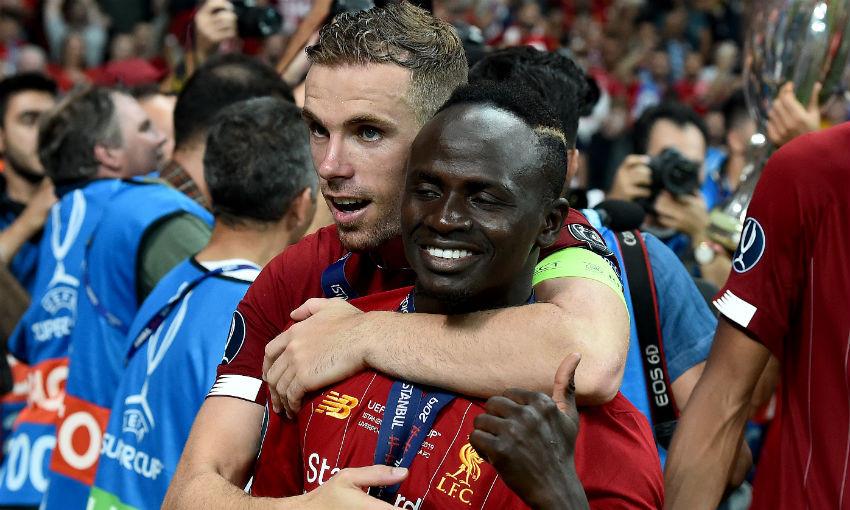 Jordan Henderson and Sadio Mane of Liverpool FC