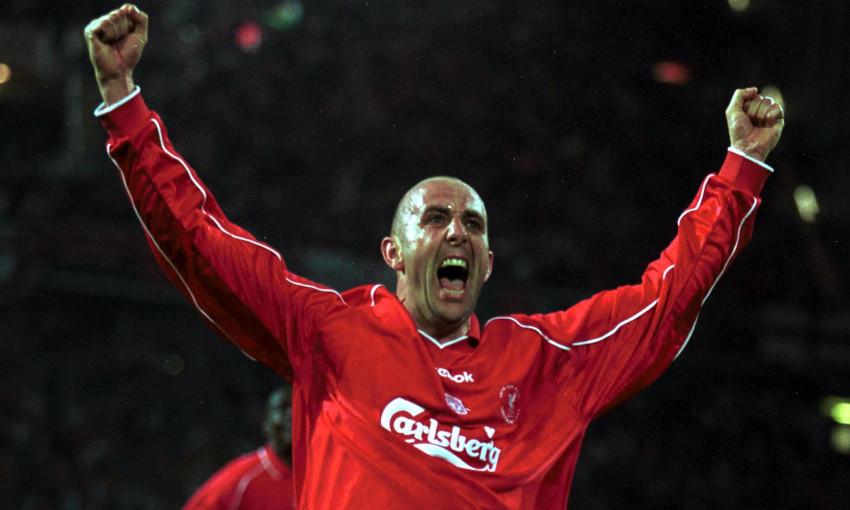 Gary McAllister celebrates for Liverpool