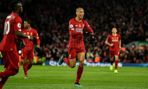 Fabinho celebrates scoring for Liverpool