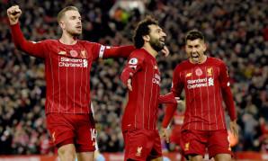 Mohamed Salah celebrates scoring against Manchester City