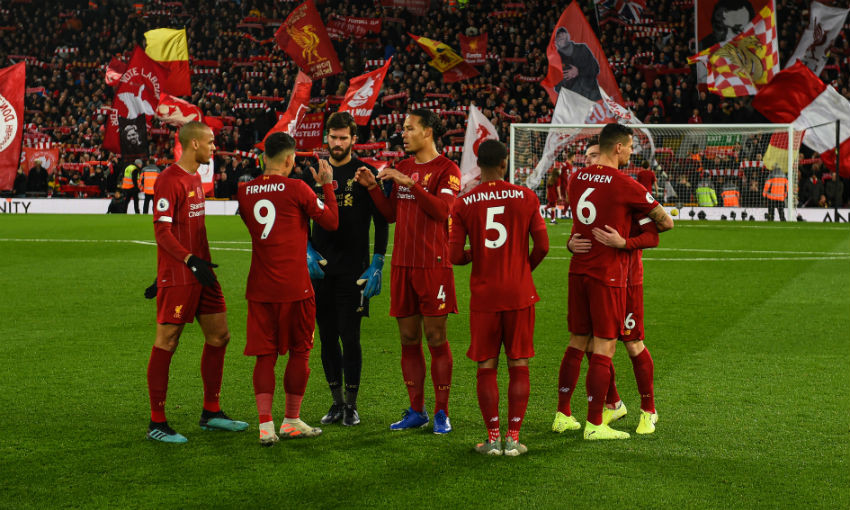 Liverpool team before Manchester City game at Anfield