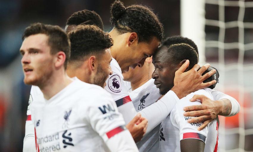 Sadio Mane celebrates goal v Aston Villa