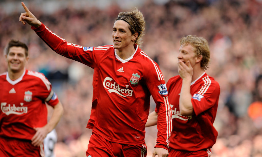 Fernando Torres celebrating a goal for Liverpool FC