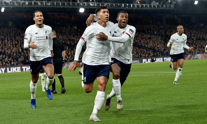 Roberto Firmino celebrates goal in Crystal Palace v Liverpool