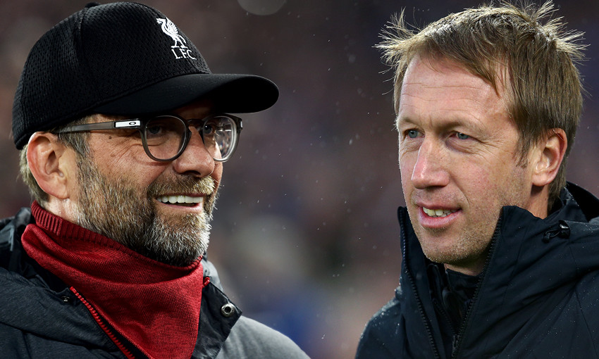 Liverpool manager Jürgen Klopp and Brighton boss Graham Potter