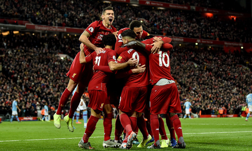 Liverpool celebrate a goal at Anfield