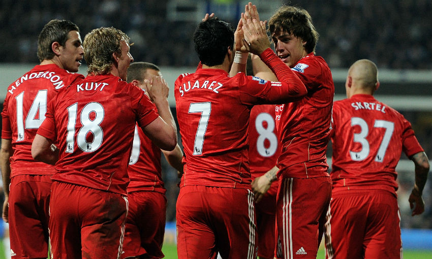 Sebastian Coates celebrates goal for Liverpool v QPR