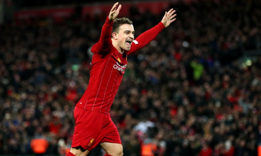 Xherdan Shaqiri celebration against Everton