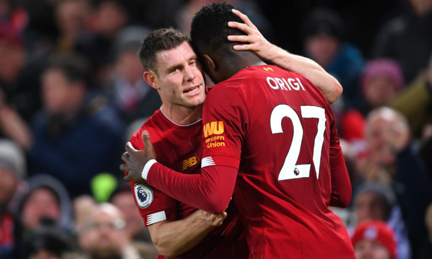 James Milner and Divock Origi of Liverpool FC