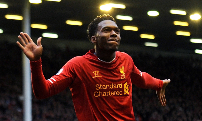 Daniel Sturridge celebrates a goal against West Bromwich Albion in 2013