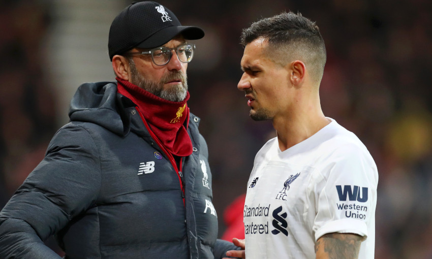 Dejan Lovren goes off injured against Bournemouth